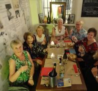 """<img src=""""australian womens travel.jpg alt=womens tour group having dinner in avignon france """">"""