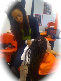 Instant dreads installed and created in one day over permed hair.