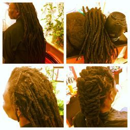 Dread repair for someone who has neglected his hair for over a year needed a lot of TLC at Braidsbybee, we reinforced his roots, we moved around some of his locs to fill in short areas we call this repositioning your dreadlocks.