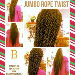 Braids by Bee offer these jumbo Rope twist that we complete within 4 hours at Braids by Bee.