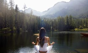 Peaceful, water, relaxed, meditation, lotus pose, yoga