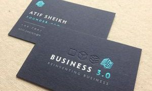 4 colour bespoke business cards on Colorplan navy blue 540gsm
