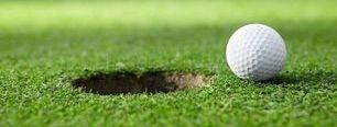 Putting Golf Ball on Green