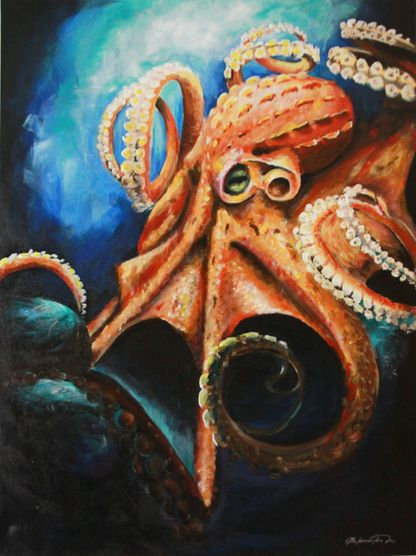 Acrilic painting of an octopus