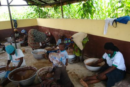 The Women Group Kneading Shea butter at the center