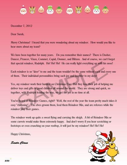 Letter mentioning reindeer.