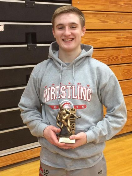 """Nathan Aylward was awarded the MOW for his outstanding performance at the """"More than a Game"""" Duals in Chittenango."""