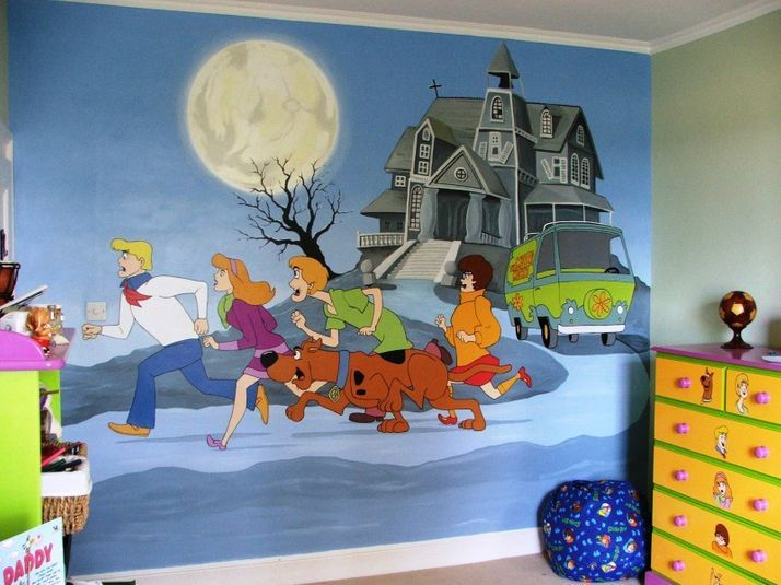scooby doo mural With kitchen cabinets lowes with scooby doo wall art